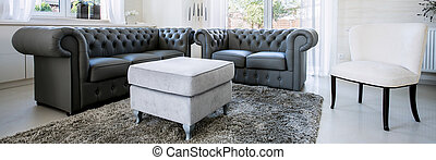 Black leather furniture - Panorama of black leather sofa in ...