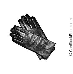 Black leather gloves isolated on the white