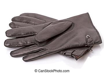 Black leather gloves on white