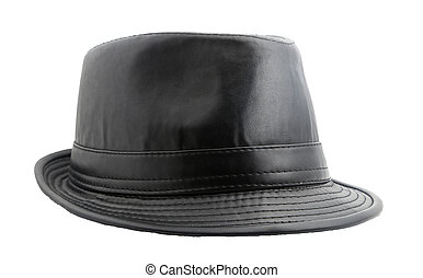 Black leather hat isolated on white
