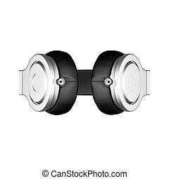 Black leather headphones isolated on white background d illustration render