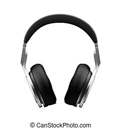 Black leather headphones isolated on white background d illustration render