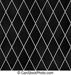 Black leather in rhombus pattern, Seamless wallpaper texture pattern background