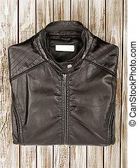 black leather isolated on white background