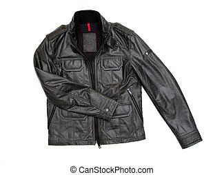 jacket - black leather jacket isolated on white background