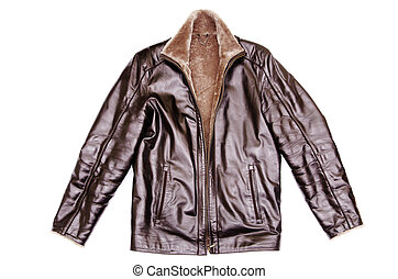 leather jacket - black leather jacket isolated on white...