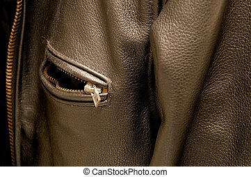 black leather jacket pocket