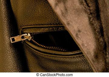 black leather jacket pocket zipper