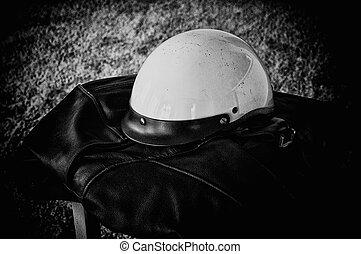 black leather jacket white motorcycle helmet