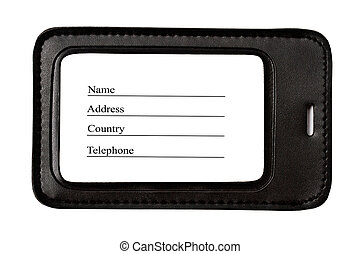 Black leather Luggage tag isolated