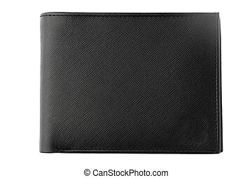 Black leather men purse isolated on a white background