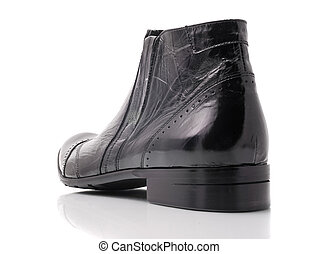 Black leather mens boot