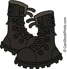 Black leather military shoes - The hand drawing of black ...