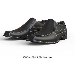 Black leather moccasins with white stitching - closeup shot