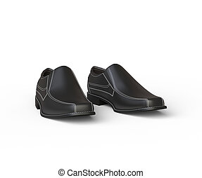 Black leather moccasins with white stitching