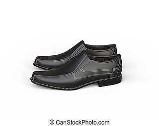 Black leather moccasins with white stitching - side view