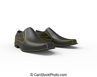 Black leather moccasins with yellow stitching