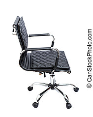 Black leather office armchair isolated on white background