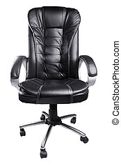 Black Leather Office Chair isolated on white background
