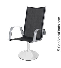 Black leather office chair isolated on white