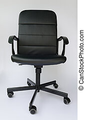 Black leather office chair. on white background.
