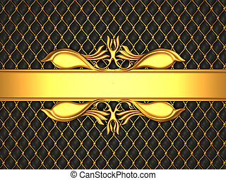 Black leather pattern with golden stucco moulding line for...