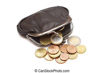 Black leather purse and several euro coins on white...