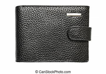 Black leather purse isolated on white background