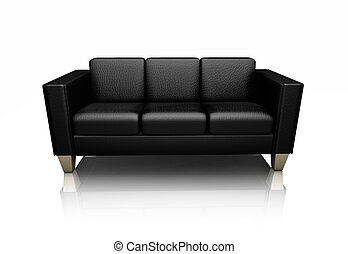 3D render of a black leather settee