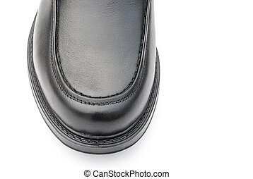 black leather shoe for man close up