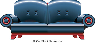 Black leather sofa over white. EPS 8, AI, JPEG