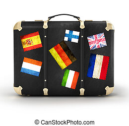 Black leather suitcase with travel stickers. 3d