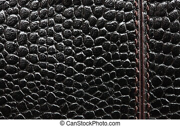 Black leather texture with stitches