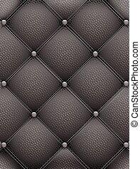 Black leather upholstery furniture. Vector symmetric illustration for your design.