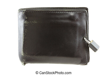 Black leather wallet with a pad loc