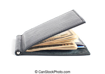 black leather wallet with with credit cards and money isolated on white background