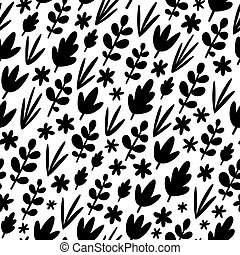Black leaves silhouettes vector pattern