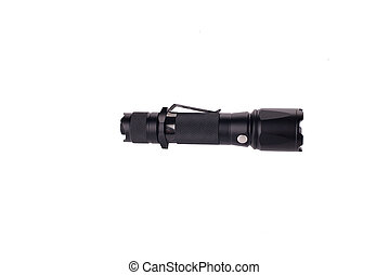 black LED flashlight isolated on white background