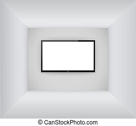 Black led or lcd tv hanging on the blank room background