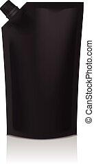 black , leeg, plastic, doypack, opstaan, zak, met, spout., soepel, verpakking, spotten, op, voor, voedingsmiddelen, of, drank