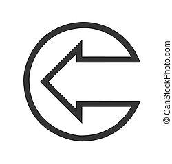 Black left arrow flat icon on white Background