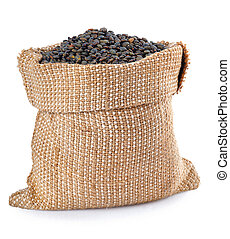 black lentils isolated on white background