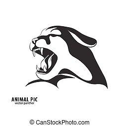 Black leopard silhouette - Leopard silhouette on white...