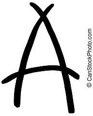 black letter A written by hand