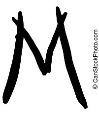 black letter M written by hand