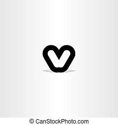 black letter v sign symbol design