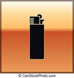 Black Lighter icon isolated on gold background. Vector Illustration
