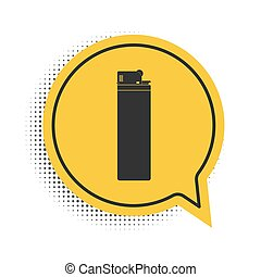 Black Lighter icon isolated on white background. Yellow speech bubble symbol. Vector