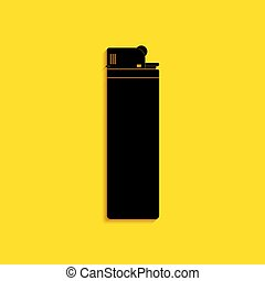 Black Lighter icon isolated on yellow background. Long shadow style. Vector