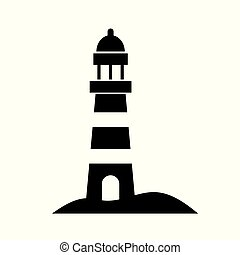 black lighthouse icon- vector illustration
